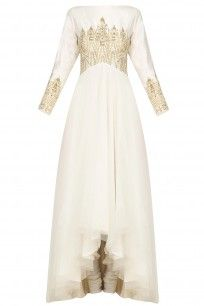 Ivory Temple Embroidered Anarkali Set