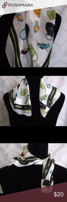 """Symphony Scarf"" Square Made in Italy ""Symphony Scarf"" Square Made in Italy  Symphony Scarfs® Made in Italy Fun scarf with shoes fashion accessories shoes and bags print  Very high fashion   100% Polyester Square 19"" x 19"" Pre owned  - two small defects on scarf SEE PHOTOS  Does not detract from the overall appearance.  Please let me know if you have any questions…. HAPPY to receive reasonable offers and encourage bundles!! Thank you for visiting my closet! Symphony Accessories Scarves…"