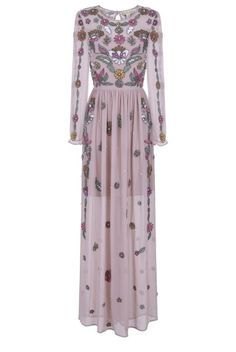 Frock and Frill Blush Pink Francisca Embellished Floral Long Sleeve Maxi Dress with Cut Out Back Sheer Long Sleeve Dress, Wedding Guest Gowns, Frock And Frill, Floral Maxi Dress, Pattern Fashion, Frocks, Party Dress, Sleeves, Dresses