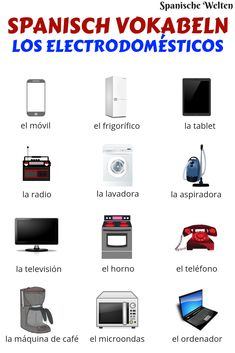Spanish vocabulary for the major electrical appliances at a glance So you can Spanisch Vokabeln Spanish Sentences, Spanish Vocabulary, Spanish Words, Spanish Language Learning, Spanish Lessons, How To Speak Spanish, Teaching Spanish, Learn Spanish, Languages Online