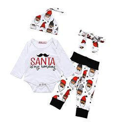 22202b0523b christmas outfits infant - Baby Boys Girls Christmas Long Sleeve Rompers  Bodysuit and Santa Claus Pants · Baby s First ...