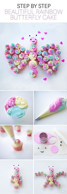 DIY Butterfly Rainbow Cake cupcakes diy recipes how to party ideas diy food food art birthday party tutorials birthday party ideas food tutorials