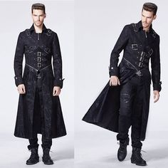 Black Military Style Gothic Fashion Trench Coats for Men SKU-11401470                                                                                                                                                      More