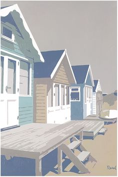 Mudeford Huts Blue (SR02) Beach and Coastal Print http://www.thewhistlefish.com/product/mudeford-huts-blue-framed-by-steve-read-sr02f