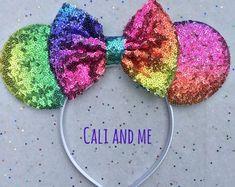 Ombre Pastel Rainbow Mickey Ears, Pastel Rainbow Ears, Rainbow Minnie Ears, Pastel Rainbow Disney Ears, Pastel Rainbow Sequin Mouse Ears