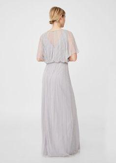 Haftowana sukienka z koralikami  | MANGO