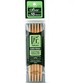 """Clover Bamboo Double Point Knitting Needles 5"""" Set Of 5-Size 10"""