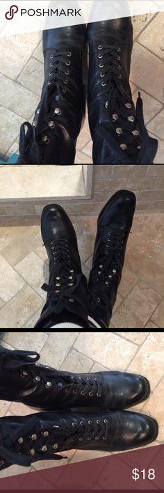 "Black Combat Boots Size 8. Lace up combat boots with a 2"" heel Nine West Shoes Combat & Moto Boots"