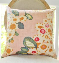 Decorative Pink Pillow - Floral Pink Fuchsia IvoryTeal Orange Pillow Cover - Designer Throw Pillow - Blush Pink Pillow- Pale Pink