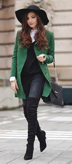 Winter green coat