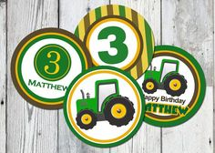 John Deere 3 party printables free | John Deere Inspired Birthday, Printable Green Tractor Cupcake Toppers ...