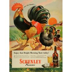 Whisky Rooster Farm Animals Sunset - Original Print Ad: Home
