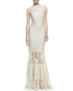 Sleeveless+Ribbed+Knit+and+Lace+Gown,+Cream+by+Tadashi+Shoji+at+Neiman+Marcus.