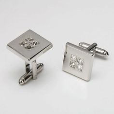 White Square Drill French Shirt Cufflinks