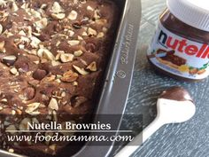 nutella brownies…and a baker's secret giveaway! Nutella Brownies, Snack Recipes, Snacks, 2 Ingredients, Cereal, Oatmeal, Breakfast, Desserts, Giveaway