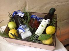 Eco hamper with sea salt, extra virgin olive oil, pure honey and carob syrup. All products are produced in Malta by farmers. The box has been locally made to keep the carbon footprint of the gift low. www.merill.com.mt