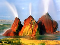 Green Fly Geyser in the Nevada Desert - The Geothermal Accident