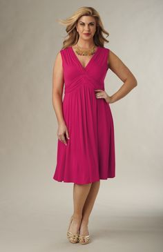 One of the best types of dresses for apple-shaped bodies are A-line shift dresses, which flow down your sides evenly, creating a balanced appearance that downplays your waist and hips while still showing off your curves and legs.