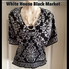 White House Black Market Medium Gorgeous WHBM Blouse in Like New Condition......100% Washable Polyester......Classic WHBM Pattern and Color.....Smoke Free Home.... Top Rated Seller Tops Blouses