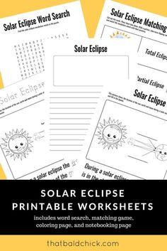 FREE Solar Eclipse Printable Worksheets
