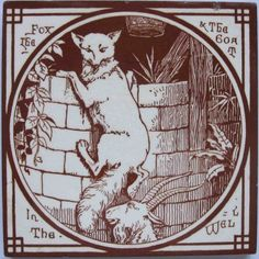 Brilliant aesthetic movement transfer tile in medium brown on a white clay body from the Aesop's Fables series by Mintons China Works. The designs for this series are attributed to Thomas Allen. Here is...