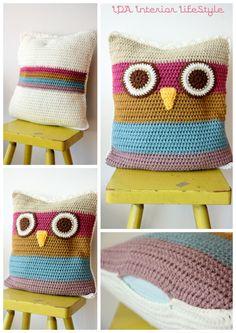 Cushowl (owl crochet cushion cover). €40.00, via Etsy.