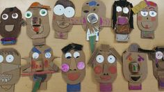 "Some of our youngest students used scraps of cardboard and some tempera paint to make some pretty comical faces. The cardboard face measures 5.5"" x 9"". I included a neck because, well, who likes floating faces! Early Childhood. 1st grade. Kindergarten."