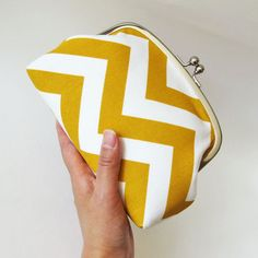 How cute is this frame purse with handle big yellow chevron stripes by oktak? #Etsy $45.00