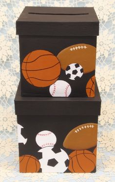 No matter what sport you are into this money card box has you covered. Background on the sample is black but can be changed to meet your needs. Personalization on the lid is done at no added cost. Please contact me at painteddesignsbykaren@hotmail.com to discuss what you want. This 2-tiered card box will hold approx. 75 cards.