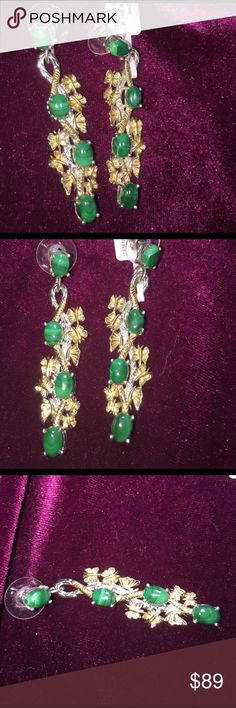 Lovely African Malachite Butterfly Dangle Earrings THIS YEARS COLOR 🍀These African Malachite Earrings are so very Cool. Each Dangling Butterfly Earring  has 4 Gemstones. ION Plated 18K Yellow Gold and Platinum Bond Brass.  Gorgeous Oval African Malachite TGW  10.56cts. The cutter must work the Gem to show its decorative marking to its best advantage. This is referred to as Malachite Peacocks Eye.. This is a sensitive Gem use only a cotton ball to gently wipe surface if it gets smudged…