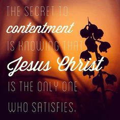 "As we conclude our series ""The Hunt: Searching for Joy"", we pray that these thoughts from Pastor Daniel Bishop's message remind you where true joy and contentment are found. ""If you are not content with the blessings God gives you now, you will not be content with the blessings He gives you in the future. You cannot allow your contentment to be based upon your circumstances. The secret to contentment is knowing that Jesus Christ is the only one who satisfies."" Philippians 4:11-13 Jesus Quotes, Me Quotes, Weekend Messages, Christian Quotes, Christian Faith, Names Of God, Beth Moore, Bible Verses, Scriptures"