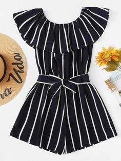 Shop Striped Ruffle Hem Knot Romper at ROMWE, discover more fashion styles online. Cute Teen Outfits, Cute Comfy Outfits, Teenager Outfits, Cute Summer Outfits, Outfits For Teens, Pretty Outfits, Stylish Outfits, Cool Outfits, Rompers For Teens