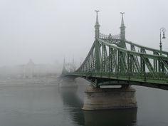 the freedom bridge in fog