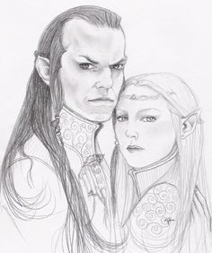 """Famous Teleri: Celebrian, daughter of Galadriel and Celeborn. She married Elrond of Rivendell and bore him twins Elladan & Elrohir, and daughter, Arwen. On a trip to Lórien  she was waylaid by Orcs in  the Misty Mountains. She was captured and tormented, receiving a poisoned wound. Her sons rescued her and healed bodily by Elrond, but she never fully recovered in mind or spirit, and chose to go into the West the following year.  """"Elrond and Celebrian"""" by Sayurisye.deviantart.com"""