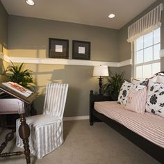 wall colors, decorating small spaces, small bedrooms, bedroom decorating ideas, guest room office, master bedrooms, chair rail, decor small, guest rooms