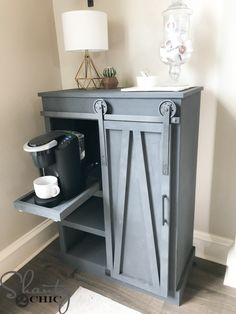 DIY Barn Door Coffee Cabinet – A Great Solution For Limited Space – Shanty 2 Chic – coffee stations at home small spaces Shanty 2 Chic, Diy Barn Door, Diy Door, Barn Doors, Diy Kitchen Decor, Diy Home Decor, Kitchen Redo, Kitchen Remodel, Diy Design