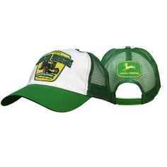55d0e2a04ce Men s John Deere Green and White Trucker Cap With Vintage Logo John Deere  Hats