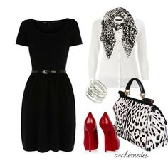 Work Outfit. Love the dress, bag and red shoes