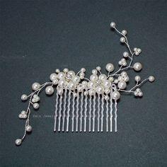 White Pearl Wedding Hair Accessories, Swarovski Pearl Silver Bridal Hair Vine Combs, Bride Bridesmaid Hair Piece jewelry Accessories H20. $47,00, via Etsy.