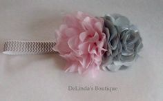 Pink and Gray Chiffon & Lace Flower on a Gray and White Chevron Stretch Band....Girls of all Ages......Party Band....Boutique Style by DeLindasBoutique on Etsy