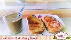 Pan con aceite de oliva y tomate -  Todos conocemos el 'pan tumaca' que originaron los catalanes por sus tierras. En el resto de España también comemos lo mismo pero con algo más de sustancia. Es decir, en vez de refregar el tomate por el pan como hacen por las hermosas tierras catalanas, aquí cortamos el tomate en rod... - http://www.lasrecetascocina.com/pan-con-aceite-de-oliva-y-tomate/