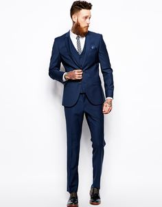 Image 1 of River Island Blue Slim Fit Suit
