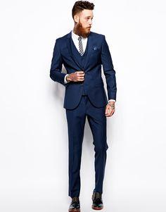 Image 1 ofRiver Island Blue Slim Fit Suit