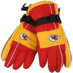 Reebok Kansas City Chiefs Red-Gold Color Block Nylon Gloves