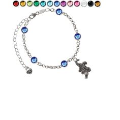Alligator Custom Crystal Color Fiona Charm Bracelet. Silver Tone Alligator Custom Crystal Color Fiona Charm Bracelet. Charm size is approx. 0.98 x 0.45 x 0.13 inches (HxWxD) including loop. Silver Tone Bracelet: 6-8 Inches Adjustable. 3mm Rolo Chain with 5 - 6mm Swarovski Crystallized Elements Channel Links. Lobster Claw Clasp. This beautiful Bracelet comes in many colors: Red, Yellow, Lime Green, Green, Teal, Hot Blue, Blue, Purple, Light Pink, Hot Pink, Clear, Clear AB, Black, Brown…
