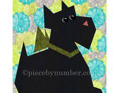 Scottie Dog quilt block pattern paper por PieceByNumberQuilts