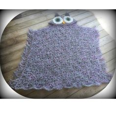 Beautiful Bulky Owl Blanket !!  This one is done in Gray, Soft White, Sage Green, and a Purple.