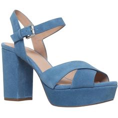MICHAEL Michael Kors Divia Block Heeled Platform Sandals (3.640 RUB) ❤ liked on Polyvore featuring shoes, sandals, denim, block heel shoes, block-heel sandals, flat leather sandals, high heel sandals and flat sandals