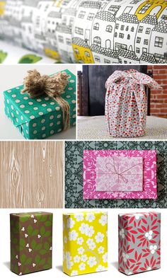 "FUN from Placed, Furoshiki, Banquet Atelier & Workshop, Paper Source, Anthropologie and, of course, a personal favorite - Snow & Graham!  From ""Ohsobeautifulpaper.com"" - Holiday-Gift-Wrap-Ideas-Inspiration-Pattern"
