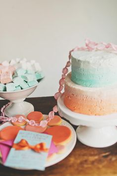 coral and turquoise cake / party.  love this color combo, cute for baby shower, bridal shower, birthday...